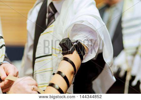 Jewish morning prayer typhlitis Jewish ceremony man