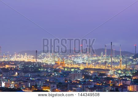 See Petrochemical industry power station in night on the hill
