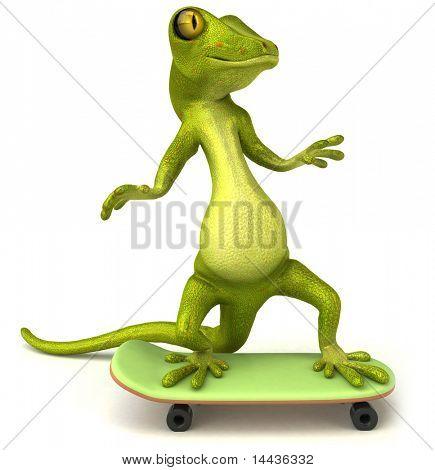 Lizard on a skateboard