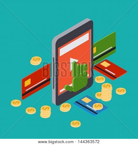 Online banking, mobile bank, money transfer, pay per click vector concept