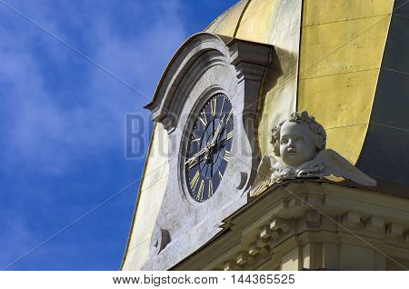 Tower clock on the Peter and Paul Fortress. Main hours of St. Petersburg.