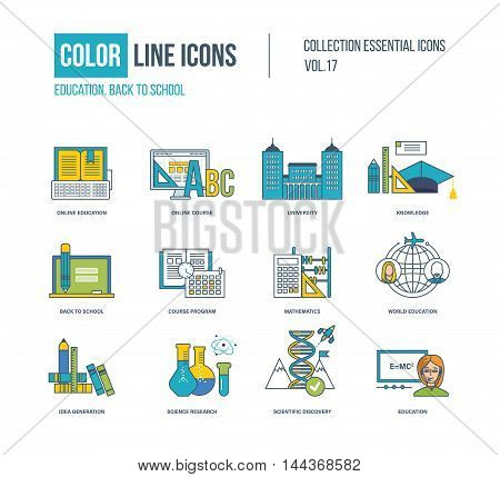 Color thin Line icons set. Back to school, online education and course, university, idea generation, science research, knowledge. Colorful logo and pictograms