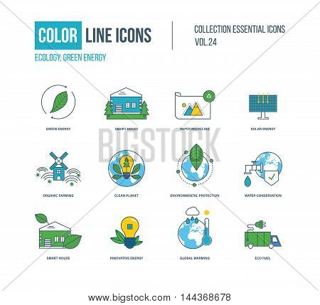 Color thin Line icons set. Ecology, green energy, smart house, recycling, solar energy, organic farmer, clean planet, environmental protection, water conservation, innovative energy eco fuel