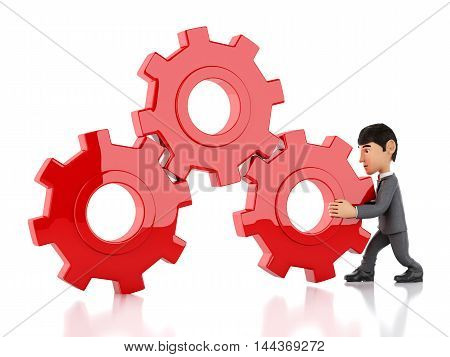 3d renderer image. businessman pushes a gear. Business concept. Isolated white background