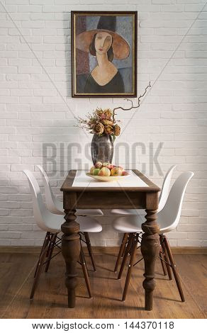 Interior shot of table in a modern dining room