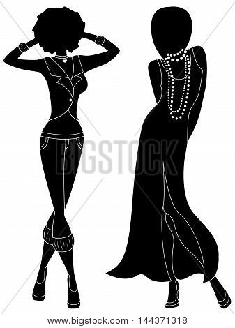 Attractive Female Two Silhouettes