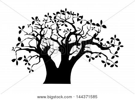 African baobab tree black vector silhouette illustration
