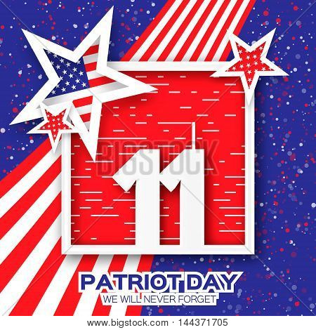 Origami Patriot Day. Twin Tower with square frame on blue background. Abstract american flag. Stars and stripes. We will never forget. September 11 2001. Vector illustration. Poster Template.
