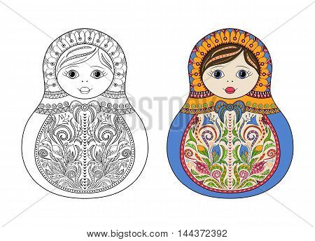 Vector coloring book for adult and kids - russian matrioshka doll. Hand drawn zentangle with floral and ethnic ornaments. Page for relax and meditation with example for choice of colors