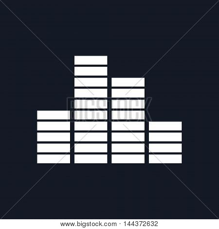 Chart ,Graph Growth Isolated on Black Background, Vector Illustration
