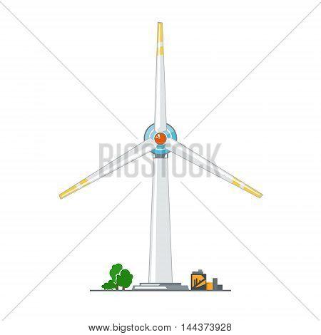 Wind Turbine on White Background ,Horizontal Axis Wind Turbine, Vector Illustration