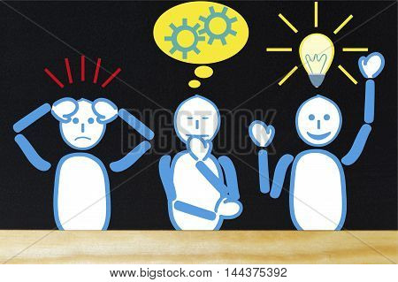 Stress and problems with thinking to solve and find solutions for. Three males with problem think about it and have ideas. With three features and gestures.