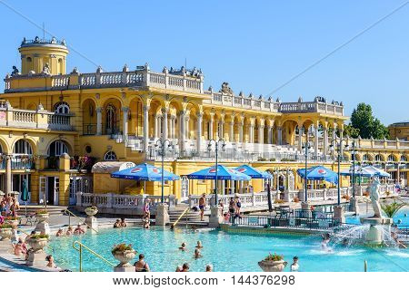 BUDAPEST, HUNGARY - AUG 18, 2014: View of the Szechenyi Medicinal Bath  , the largest medicinal bath in Europe, built in 1913