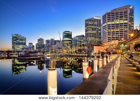 SYDNEY AUSTRALIA - September, 5 2016 : Sunrise of Darling Harbour adjacent to the city center of Sydney and also a recreational place in Sydney central business district
