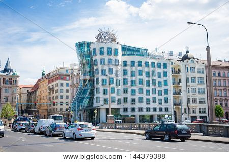 PRAGUE, CZECH REPUBLIC - MAY 8, 2015: Dancing House Deconstructivist original administrative office building near the northern limits of the city center of the Czech capital Prague, built Vlado Mylunychem and Frank Gehry in 1992 96 years. May 8, 2015. Pra