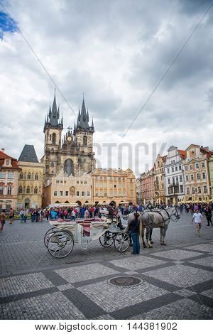 PRAGUE, CZECH REPUBLIC - MAY 6, 2015: Coach for tourists in Prague's Old Town