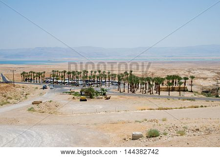 MASADA, ISRAEL - JUNE 1, 2015: Bus stop near Masada is an ancient fortification in the Southern District of Israel. June 1, 2015. Masada, Israel.