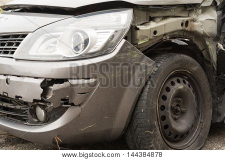 Car with a total loss after an accident