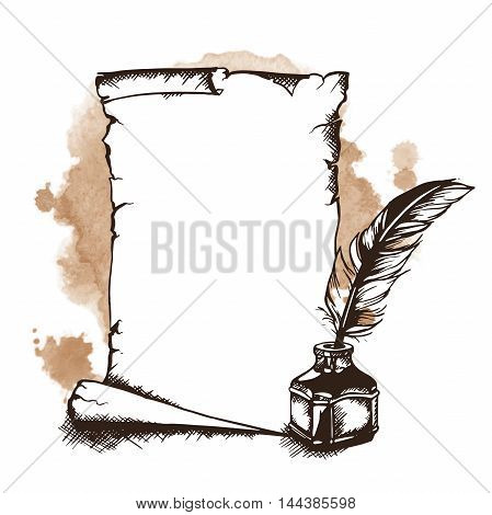 Hand-drawn paper scroll feather and inkwell. Vector illustration
