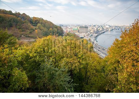 view of the old city of Kiev from height
