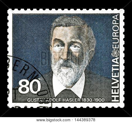 SWITZERLAND - CIRCA 1980 : Cancelled postage stamp printed by Switzerland, that shows Gustav Adolf Hasler.
