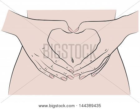 Woman forming a heart shape on her belly. vector illustration