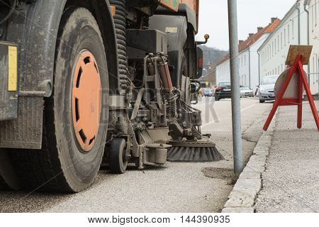 Street cleaning sweeper - up Side brush poster