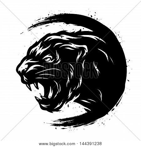 Black Panther in a grunge style. Vector illustration.