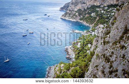Aerial view on coast of Capri Island in Italy