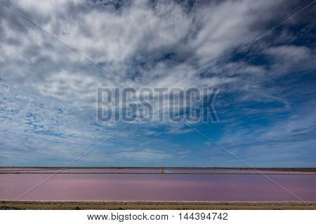Colorful salt evaporation ponds in Giraud Camargue France