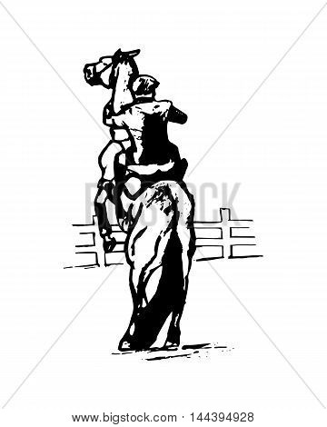 Graphic image of a horse on hind legs jumping figure