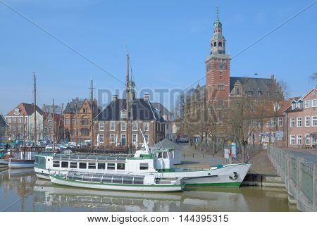 Village of Leer in East Frisia at North Sea,Lower saxony,Germany