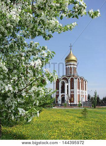 Church Dmitry Donskoy on the background of apple blossom. Nizhny Tagil. Russia.