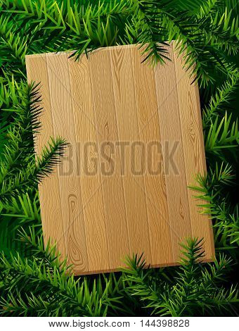 Blank wooden board against pine branches. Christmas template with christmas tree twigs. Qualitative vector layout for new years day, christmas, winter holiday, new years eve, silvester, etc