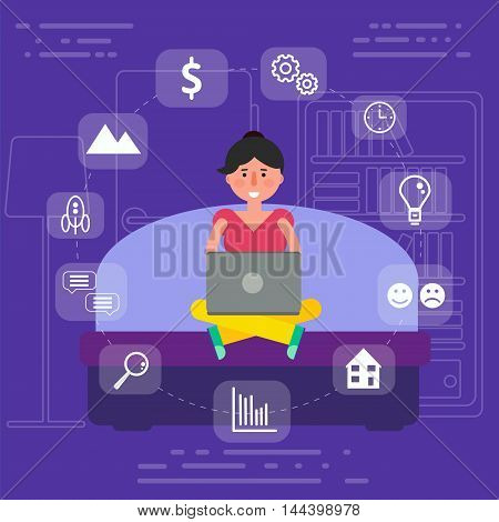 Young female sitting on sofa in room surfing wi-fi internet on laptop. Vector illustration of woman or girl user working online by browsing wireless net in apartment.