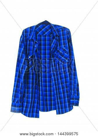 Long Sleeve, Blue And White Checkered Shirt 01