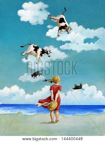 a view from behind girl on a beach looking out to sea and see the sky flying cows