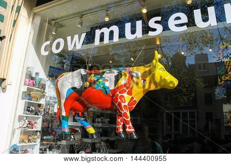 Amsterdam the Netherlands -October 03 2015: Shopwindow of Cow Museum in historic city centre