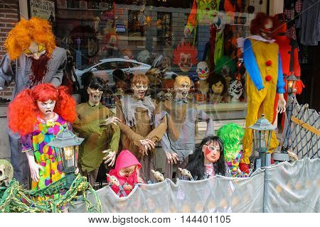 Amsterdam the Netherlands -October 03 2015: Horror party dress and souvenirs in the window of the popular shop in city centre