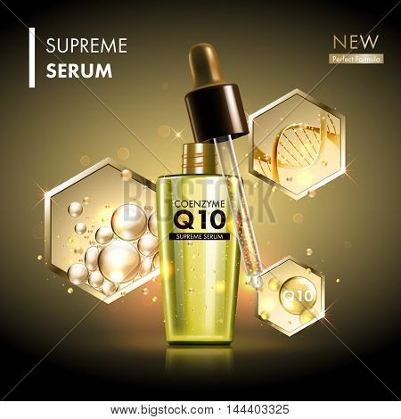 Coenzyme Q10 serum essence golden drops with dropper. Skin care collagen hyaluronic moisture formula treatment with honeycomb design elements. Anti age DNA helix protection and lifting solution poster