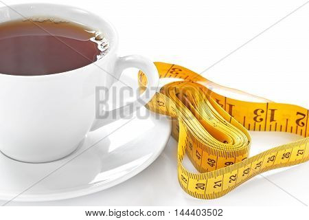 Cup Of Hot Tea With Tape Measure