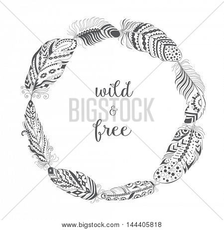 Frame with Bird Feathers isolated on White Background. Boho Style Design for T-shirt. Stylized Feather with Ornament.