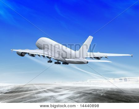 white passenger plane is landing away from airport poster