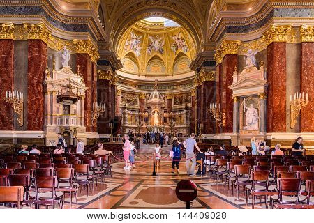BUDAPEST, HUNGARY - AUG 18 2014: Interior of the  St. Stephen's Basilica, a Roman Catholic basilica in Budapest, Hungary. It is named in honour of Stephen, the first King of Hungary, built in 1905