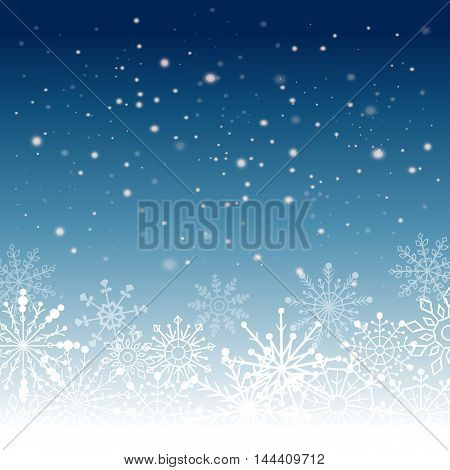 Silver winter abstract background. Christmas background with snowflakes.