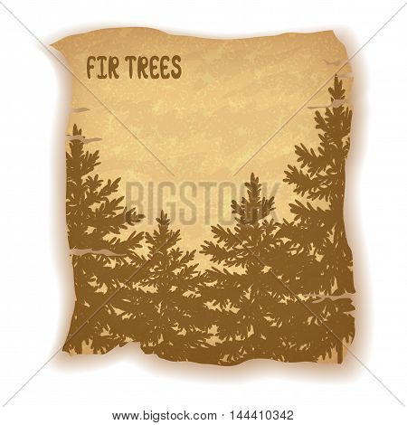 Landscape, Fir Trees Silhouettes on Vintage Background of an Old Sheet of Paper. Eps10, Contains Transparencies. Vector