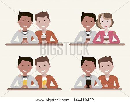 A set of illustrations of best friends. Two guys with a beer, coffee and a smartphone. Man and woman sitting in a cafe or bar and talking. Friendship or dating concept. Vector illustration flat design