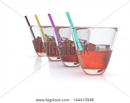 realistic whiskey with ice and straws in the glass. 3D
