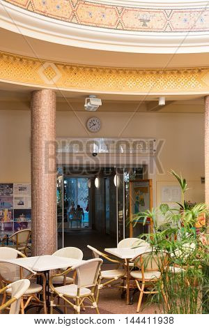 MISKOLC, HUNGARY - AUG 29, 2014: Entrance of the Barlangfurdo, a thermal bath complex in a natural cave in Miskolctapolca, which is part of the city of Miskolc, Hungary