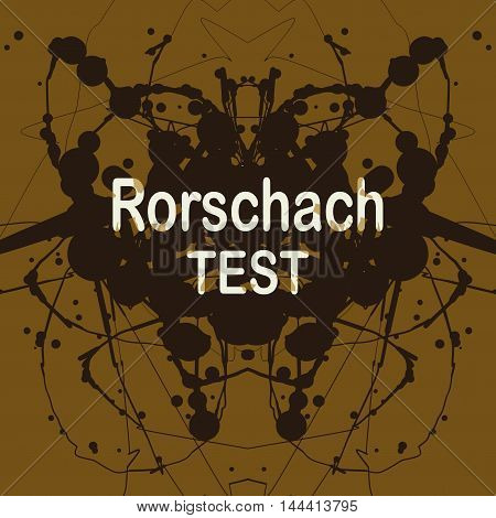 Rorschach inkblot test vector illustration. Random abstract background of blotches. Psycho diagnostic inkblot test of Rorschach.